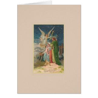 Cartão de Natal religioso de Glædelig julho do