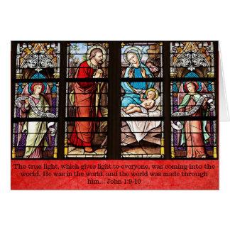 Cartão de Natal religioso, igreja do vitral