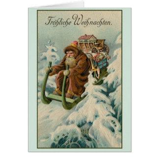 Cartão de Natal retro de Fröhliche Weihnachten do
