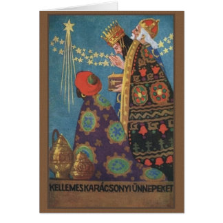 Cartão de Natal retro de Karácsonyi do Hungarian