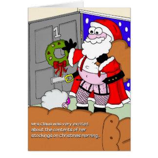 Cartão de Natal rude - papai noel nas meias