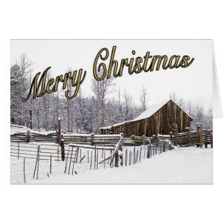 Cartão de Natal rural nevado da cena