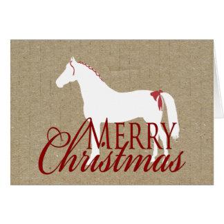 Cartão de Natal rústico vermelho e branco do