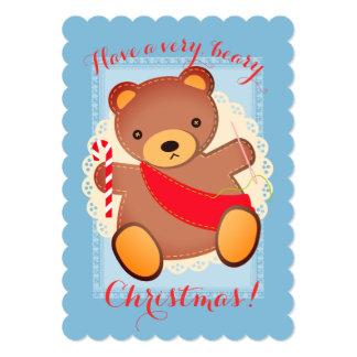 Cartão de Natal Sewing do urso de ursinho da