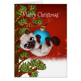 Cartão de Natal Siamese do gatinho