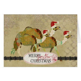 Cartão de Natal sonhador dos camelos do vintage