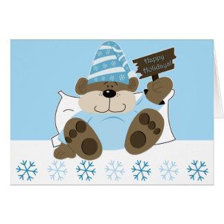 Cartão de Natal sonolento bonito do feriado do urs