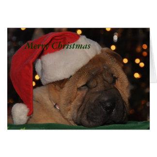 Cartão de Natal sonolento do filhote de cachorro