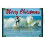 Cartão de Natal surfando do papai noel