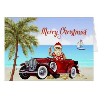Cartão de Natal tropical Duesenberg da praia