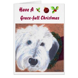 Cartão de Natal velho do Sheepdog de Englsih
