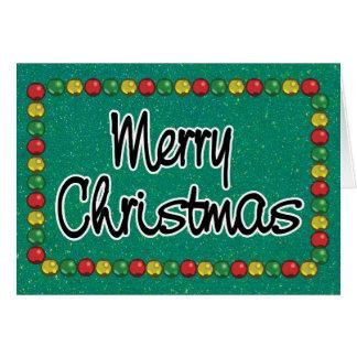 Cartão de Natal verde do grânulo do brilho