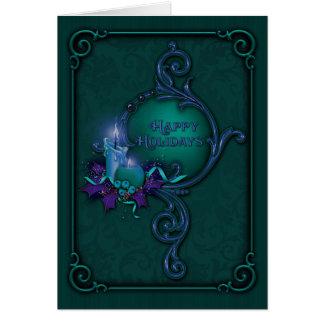 Cartão de Natal verde & roxo da luz de vela