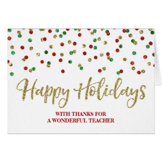 Cartão de Natal verde vermelho do professor dos