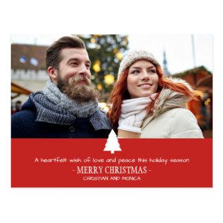 Cartão de Natal vermelho da foto do pinheiro