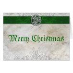 Cartão de Natal vermelho de Triskelion do nó celta