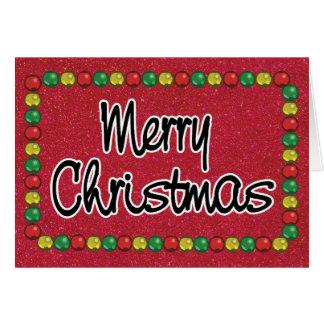 Cartão de Natal vermelho do grânulo do brilho