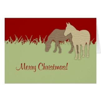 Cartão de Natal vermelho e verde do cavalo