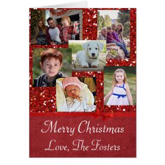 Cartão de Natal vermelho feito sob encomenda do