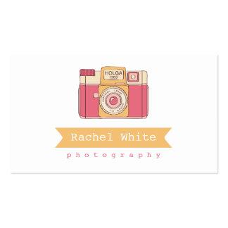 Cartão de negócios cor-de-rosa alaranjado da câm modelo cartao de visita