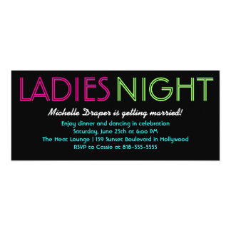 Cartão de néon da noite das senhoras convite 10.16 x 23.49cm