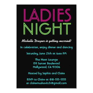Cartão de néon da noite das senhoras convite 12.7 x 17.78cm