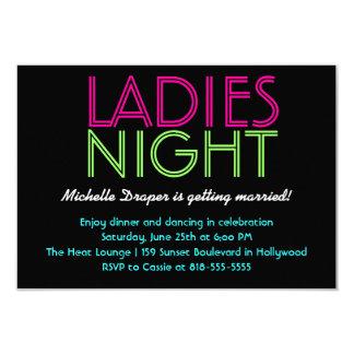 Cartão de néon da noite das senhoras convite 8.89 x 12.7cm