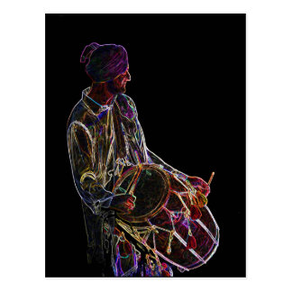 Cartão de néon do baterista de Dhol do fulgor