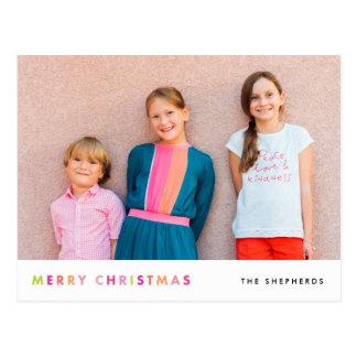 Cartão de néon moderno da foto do Feliz Natal