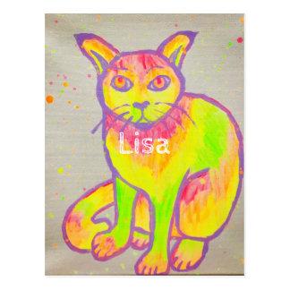 Cartão de néon pintado mão do gato