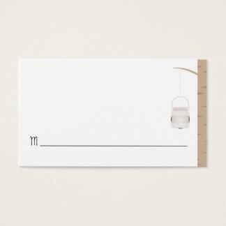 Cartão de nome do local bilíngüe do casamento da