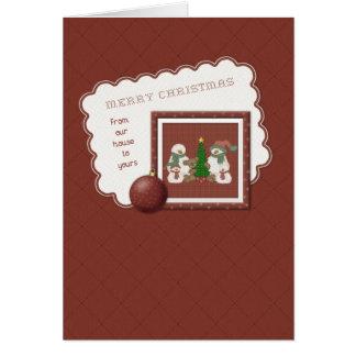 Cartão De nossa casa - família dos bonecos de neve