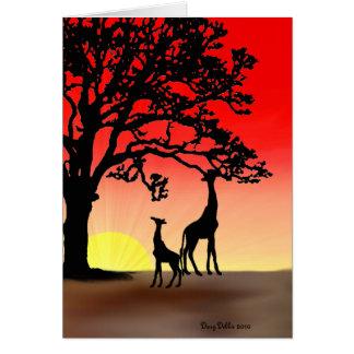 Cartão de nota africano do por do sol