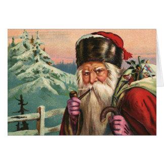 Cartão de nota alpino do papai noel