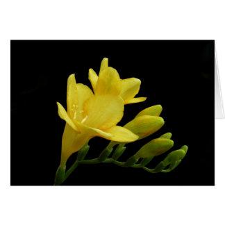 Cartão de nota amarelo da flor & do botão do