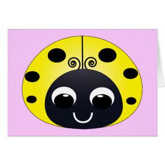 Cartão de nota amarelo pequeno do joaninha