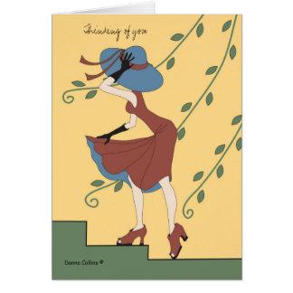 Cartão de nota azul do chapéu