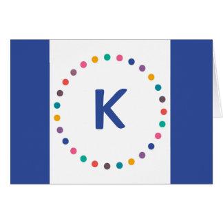 Cartão de nota azul do monograma do círculo, cartõ
