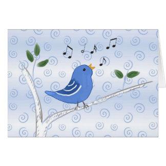Cartão de nota azul do pássaro do canto bonito