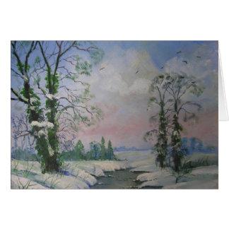 Cartão de nota bonito da pintura a óleo da cena do