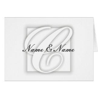 Cartão de nota branco do vazio do monograma de C