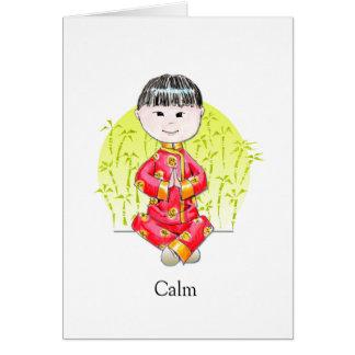 Cartão de nota calmo II do menino de China
