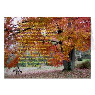 Cartão de nota com o carvalho colorido outono