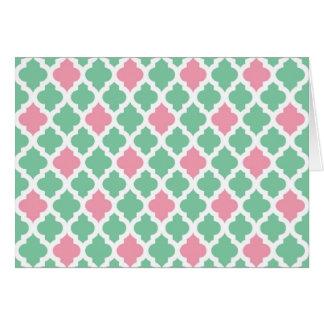 Cartão de nota cor-de-rosa e verde