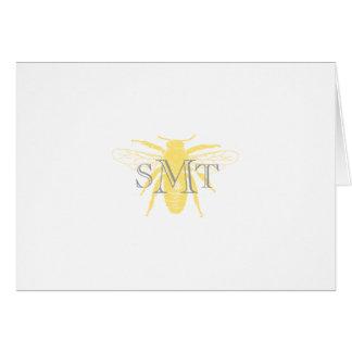 Cartão de nota da abelha do monograma