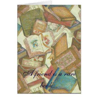 Cartão de nota da amizade do livro raro