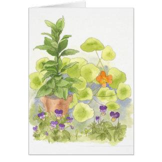 Cartão de nota da arte da flor da aguarela da