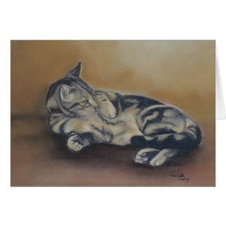 Cartão de nota da arte do gato da barriga do gato