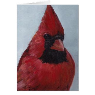 Cartão de nota da arte do pássaro do Sr. Vermelho