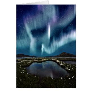 Cartão de nota da aurora boreal